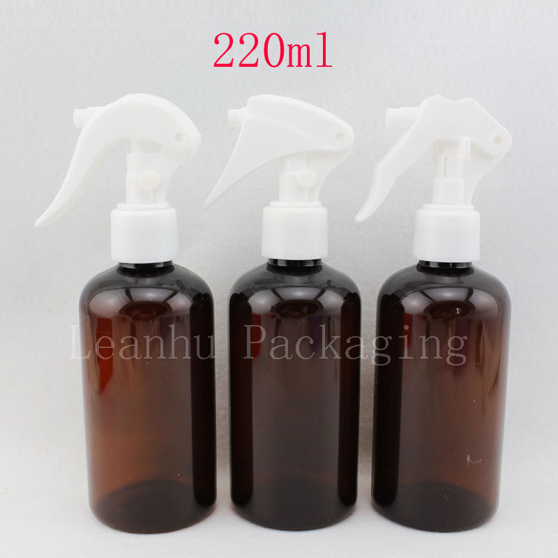 brown color 220ml X 20 empty plastic mouse spray pump cosmetic bottles containers ,amber PET bottle with trigger sprayer pump