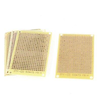 5 Pcs Beige 2.54mm Pitch PCB Board Copper Prototype Breadboard 1 Side 50x73mm beige