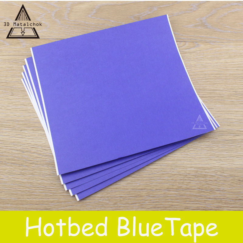 3D Printers Parts 5pcs Blue Heat Paper Tape 200mmx210mm Heating Bed Painters High Temperature Rubber Polyimide Adhesive Makerbot free shipping wholesale retail aurora blue high temperature tape textured paper tape printer 3d heating plate special