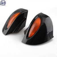 ABS Black Motorcycle Rearview Side Mirrors Amber Turn Signal Light 1Set For BMW R1100 RT R1100 RTP R1150 RT