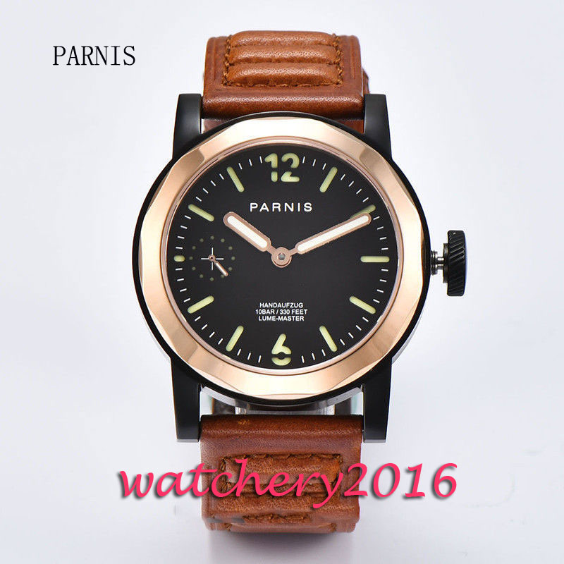 все цены на New 44mm Parnis black dial PVD case luminous hands 6497 hand winding movement Men's watch онлайн