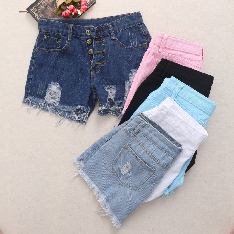 2017 jeans woman  Shorts Summer High Waist Denim Shorts Women Worn Loose Burr Hole Jeans Tassels nibesser hole ripped jean shorts woman high waist knee length pockets washed casual denim shorts summer jeans pantalon femme
