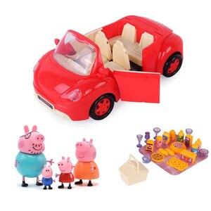 Image 1 - Свинка Пеппа Джордж игрушки красный автомобиль набор экшн фигурки оригинальные аниме игрушки для детей Мультяшные игрушки для детей подарок на день рождения