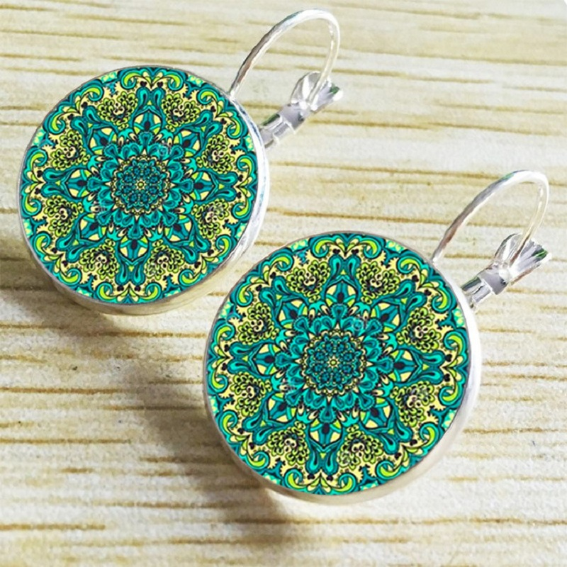 Exknl Boho Flower Drop Earrings For Women Vintage Jewelry Geometric Pattern Round Earings Bijoux boucles d'oreilles bohemia 3