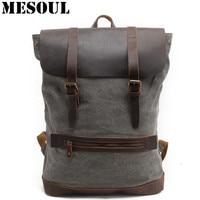 Canvas Men S Backpack Youth Laptop Backpack Schoolbag Large Capacity Vintage Military Travel Bag Rucksack ArmyGreen