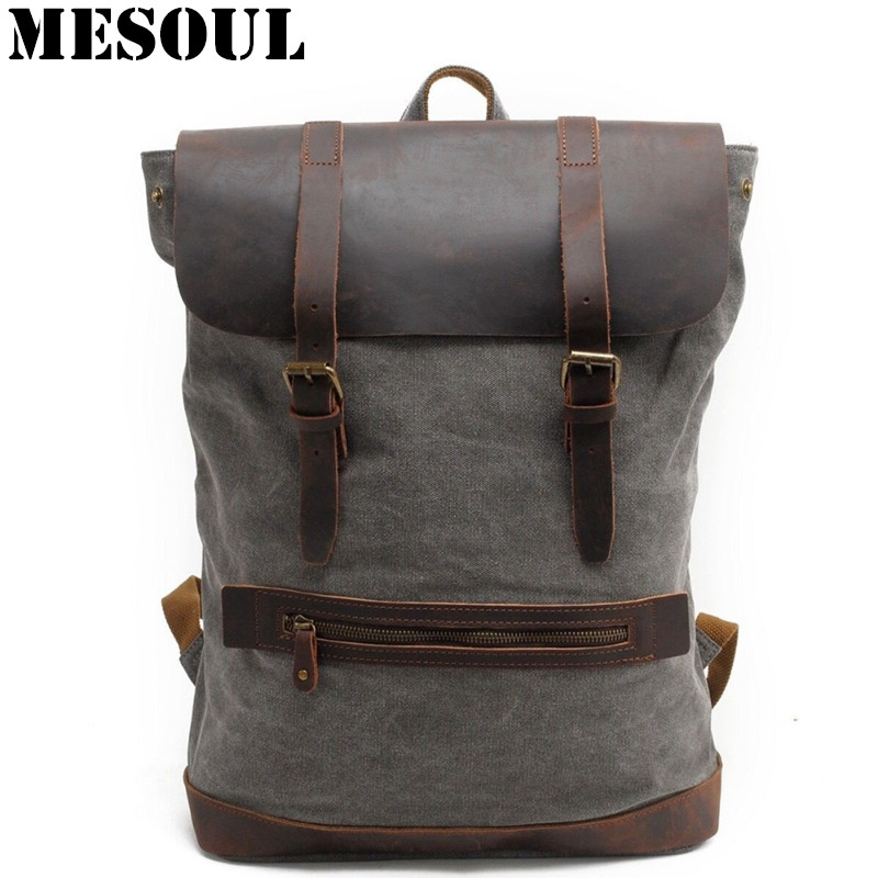 Canvas Men's Backpack Youth Laptop backpack Schoolbag Large Capacity Vintage Military Travel Bag Rucksack ArmyGreen School Bags men s leather canvas backpack youth large capacity vintage military backpack travel bags fashion casual women laptop school bags