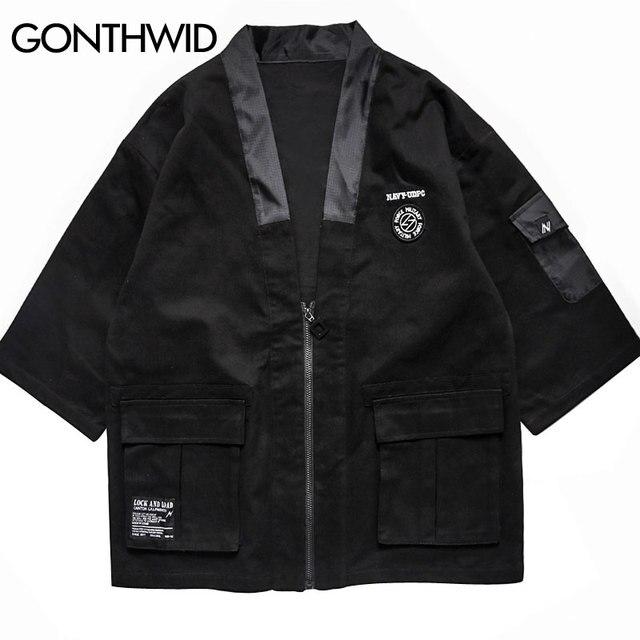 GONTHWID Mens Japanese Zip Kimono Jackets Male Harajuku Front Pockets Kimono Jacket Streetwear 2018 Hip Hop Fashion Casual Coats