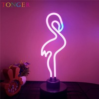TONGER Neon Sculpture Glass Tube Flamingo Neon Lamp Neon Gas Light Home Decor Holiday Handcrafted Decoration Neon Tube Lights