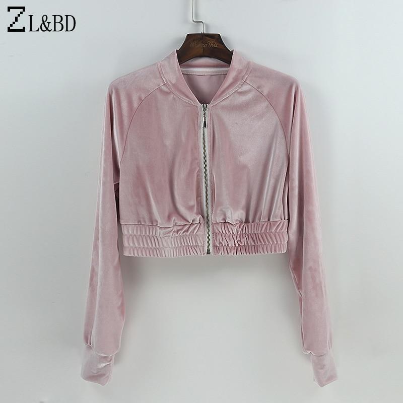 ZL&BD sudaderas mujer Women Sportwear Tracksuits 2 Pcs Set Spring Velvet Crop Top Sweatshirt Casual Zipper Jacket Hoodies ZA251