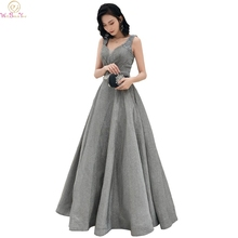 Gray Elegant Evening Dresses 2019 Lace Up Floor Length A Line Sequined robe de soiree Simple Sleeveless Formal Party Long Gowns
