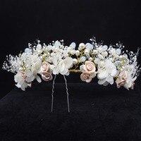 Natural Flower And Pearl Bridal Vine Tiara Headbands Bride Floral Crowns Girl Women Headpiece Wedding Hair