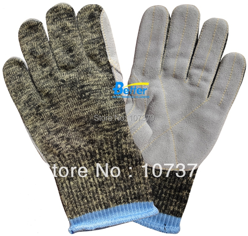 Glass Handing Safety Gloves Aramid Fiber Leather Sewed Anti Cut Resistant Work Glove anti cut safety glove hppe cut resistant work glove