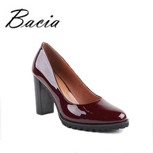 Bacia 100% Genuien Leather Pumps Wine Red Handmade Shoes Medium Heels Office Lady High Quality Cowhide Patent  Shoes VB019