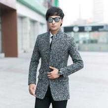 Grey new arrival single-breasted wool coat men jackets and coats mens slim winter trench coats teenager outerwear plus size 9XL