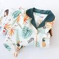 NEUE Japanische Reiner Baumwolle Pyjamas Sets Kimono frauen Lange-ärmeln V-ausschnitt Ananas Nette Yukata Frühling Herbst Hause Service anzug