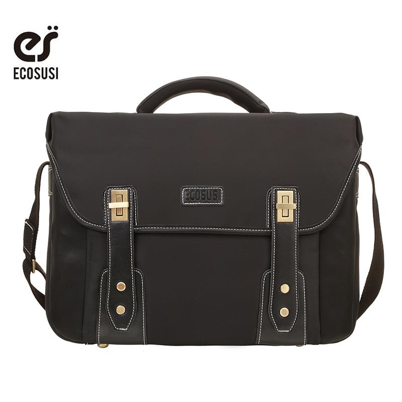 """ECOSUSI New Fashion Vīriešu rokassomu Nylon portfeļi Biznesa plecu somas Studentu grāmatas Somas Datoru somas Fit 14 """"klēpjdators"""