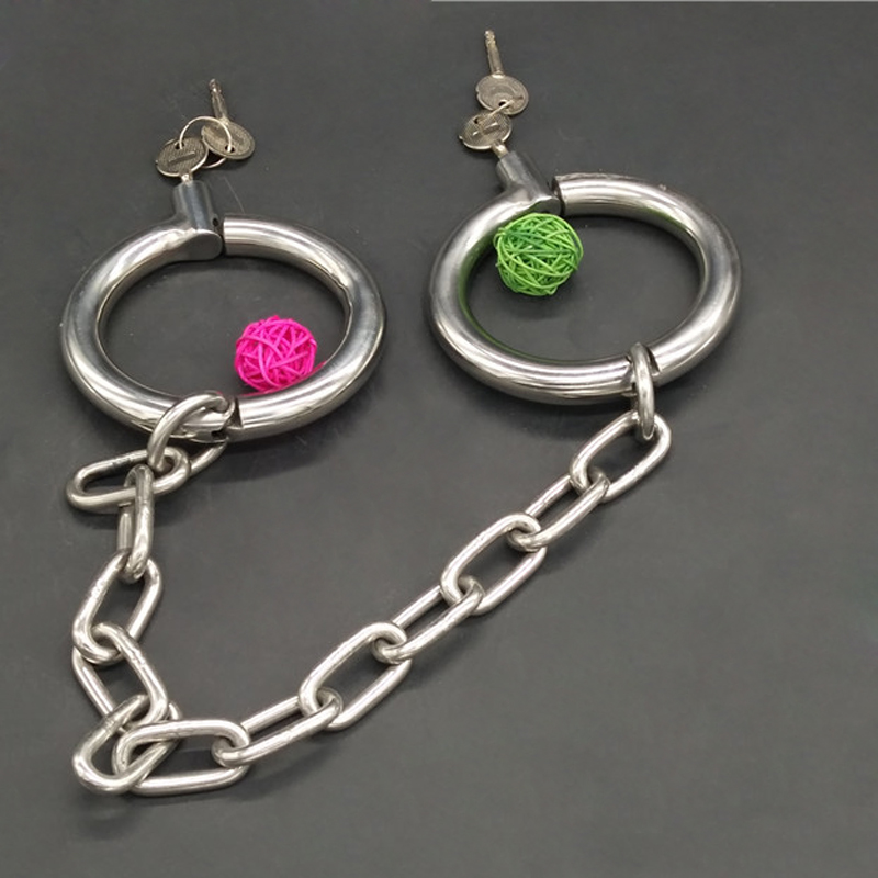 New Metal Stainless Steel Fetter Anklet Cuffs Shackles With Chain Restraint Bondage Lock Adult BDSM Sex Toy For Male Female