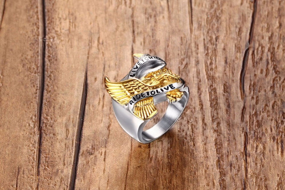 Stainless Steel Eagle Ring in Gold And Silver
