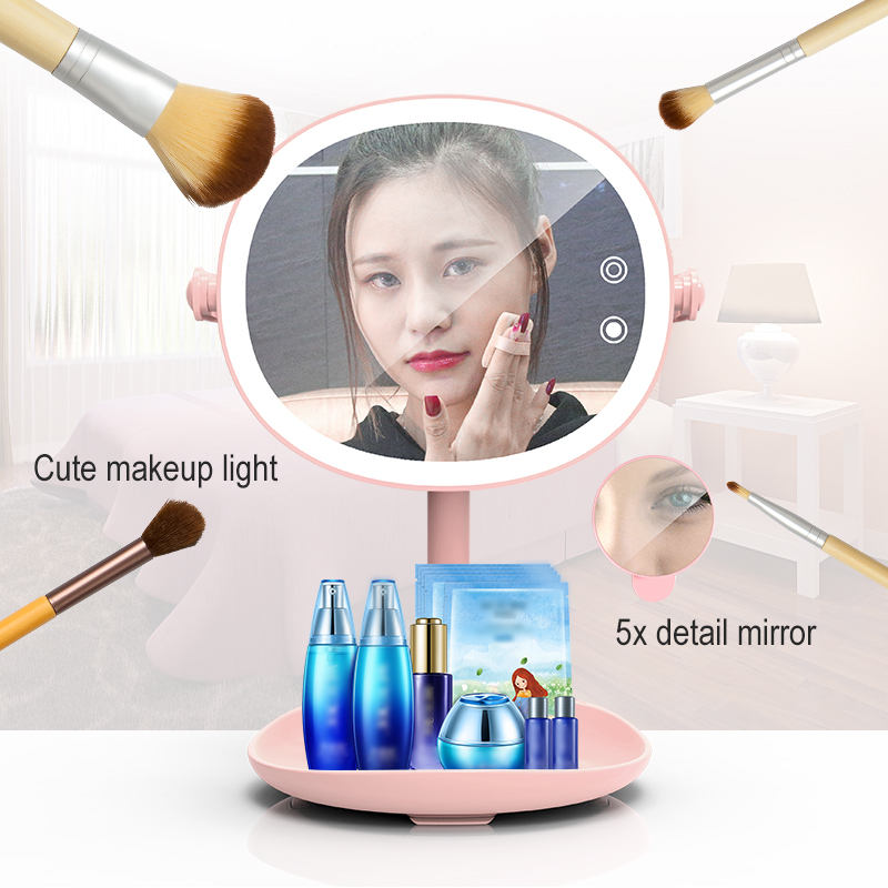 WRUMAVA LED Flash Selfie Light Beauty Makeup Mirror Touch Button 5 modes light night LED Lamp 180 Rotary With Magnifying Mirror