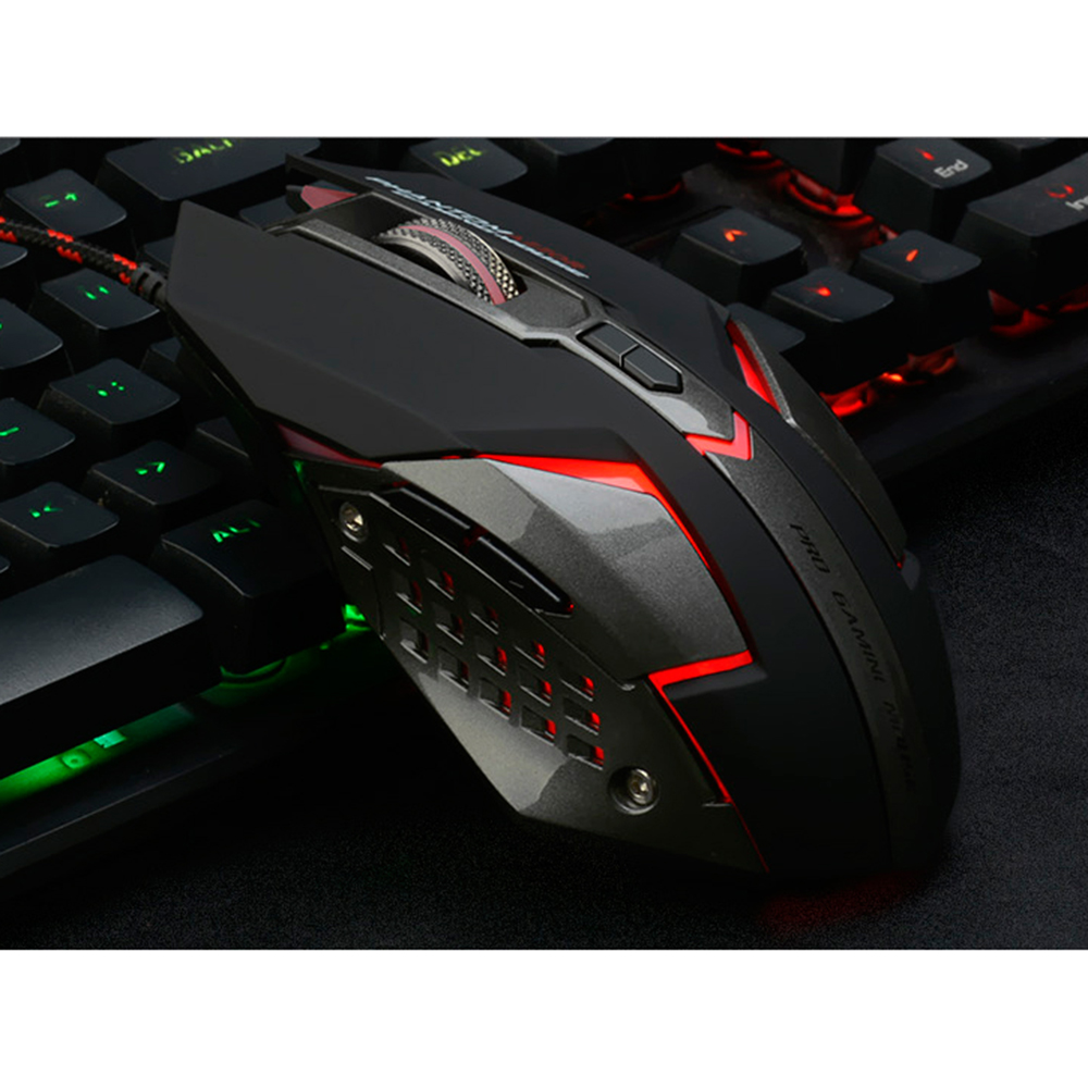 AZZOR D5 Silent Click USB Wired Gaming Mouse 7 Buttons 3200DPI Mute Optical Computer Game Macro Mouse Mice for PC Laptop Noteboo