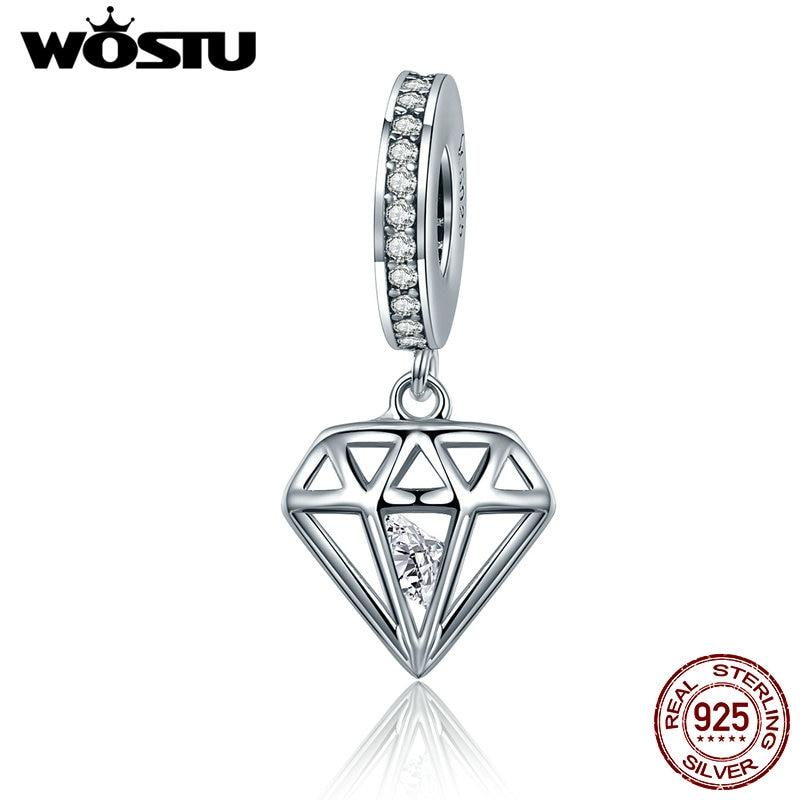 WOSTU Hot 925 Sterling Silver Shining Heart Dangle Beads Fit Original wst Charm Bracelet Pendant DIY Jewelry Gift FIC186