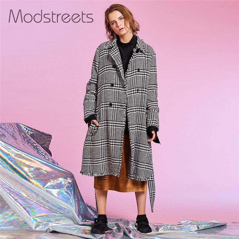 Modstreets пальто в клетку Для женщин Весна длинным рукавом кнопки верхняя одежда осень карманы модные босоножки пояс Длинные Уличная Куртки