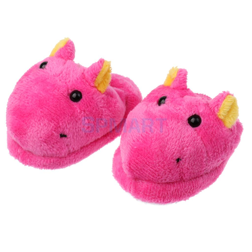 1 Pair of Cute Rose Cartoon Hippo Plush Slippers Shoes for 18inch American Girl for Our Generation Dolls