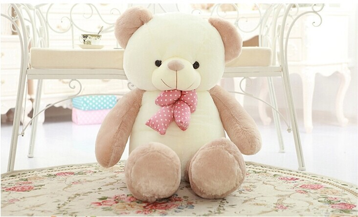 ФОТО lovely new plushed Teddy bear toy stuffed light brown teddy bear with bow birthday gift about 80cm