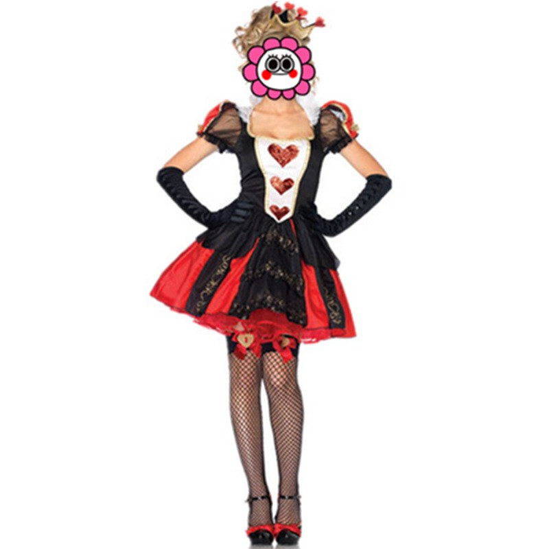 <font><b>Sexy</b></font> <font><b>Queen</b></font> of Hearts costume Red <font><b>Halloween</b></font> witch Adult Fancy cosplay Alice nightclub Club wear Princess Party Women Hot costumes image