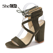 She ERA Gladiator Sandals Women Summer Buckle Strap High Heels Women Narrow Band Party Sandals Heeled Dress Shoes size43(China)