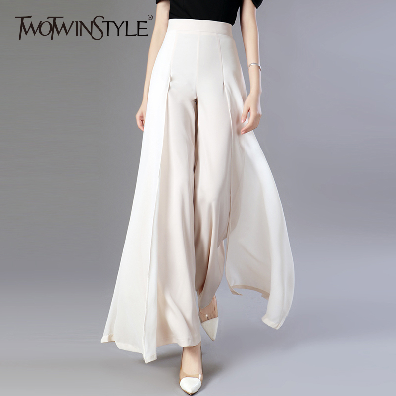TWOTWINSTYLE Chiffon Long Trousers High Waist Zipper Patchwork Maxi Wide Leg Pants For Women Spring Elegant Fashion Clothing