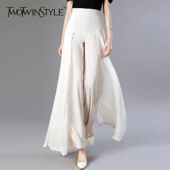 TWOTWINSTYLE Chiffon Long Trousers High Waist Zipper Patchwork Maxi Wide Leg Pants For Women Spring Elegant Fashion Clothing - DISCOUNT ITEM  50% OFF All Category