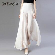 TWOTWINSTYLE szyfonowe długie spodnie wysokiej talii zamek Patchwork Maxi szerokie spodnie nogi dla kobiet wiosna elegancka modna odzież