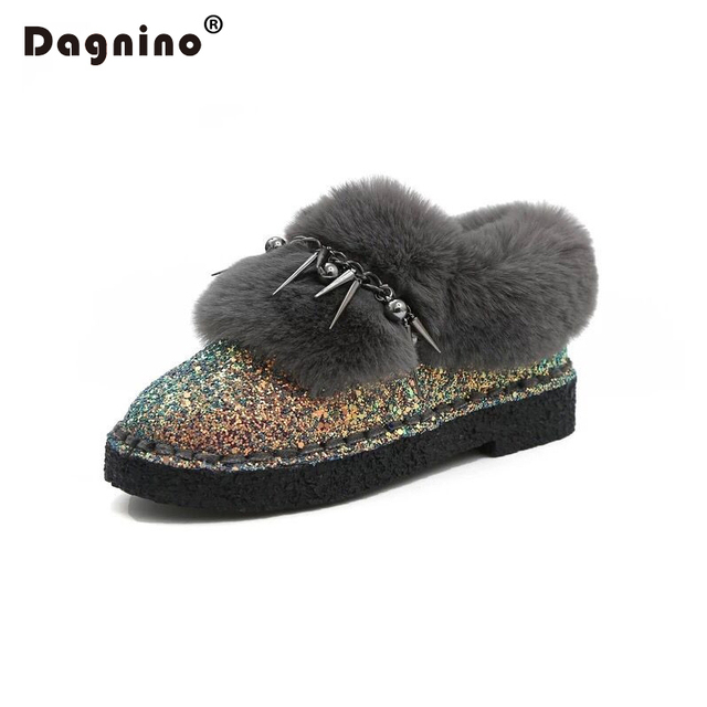 DAGNINO Winter Women Snow Boots 2017 High Quality Bling Suede Leather Australia Warm Slip On Casual Shoes Woman Rivet Fur Boots