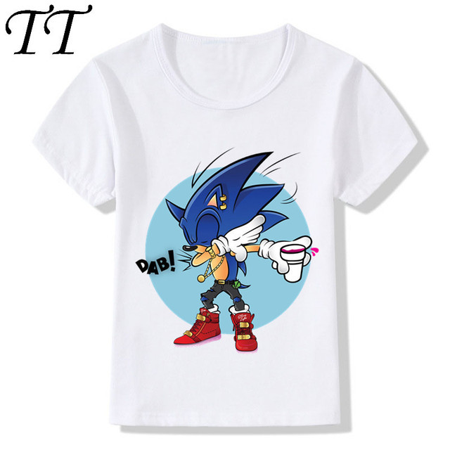 b49c02a7 Dabbing Sonic The Hedgehog Cartoon Design Funny Children's T-Shirts Boys  Girls Tops Tees Kids Casual Clothes For Toddler,HKP2221