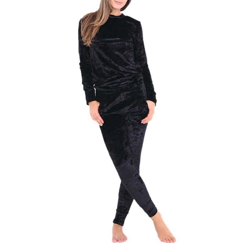 WJ Seksowne Kobiety Dres Ustawia 2017 Nowy Jesień Zima Moda Aksamitne długi Rękaw Bluzy Topy + Spodnie Wąskie Garnitury Femme 2 Sztuka Zestaw 14
