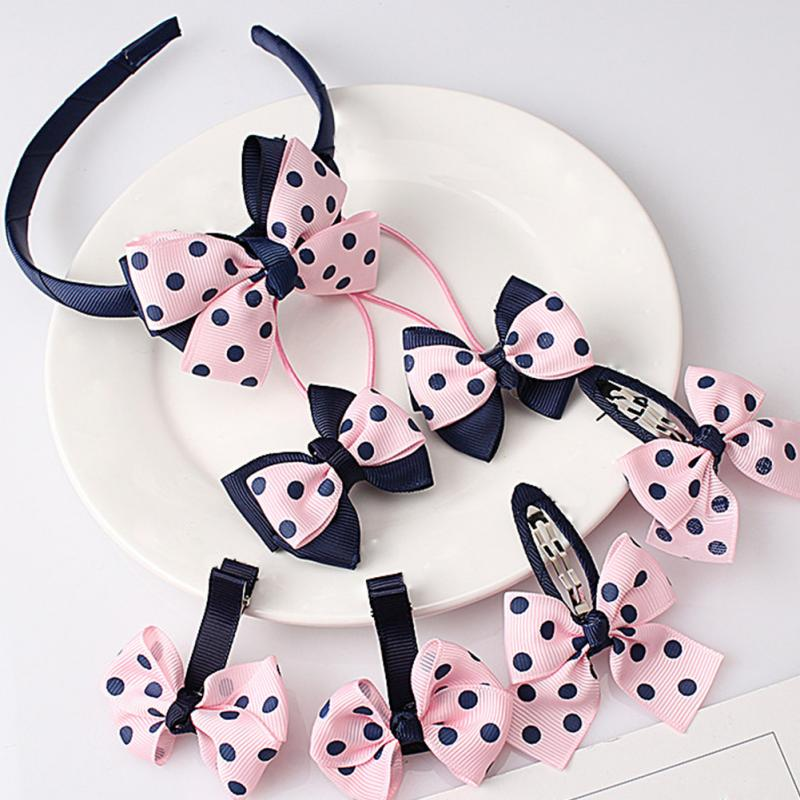 Kids Girls Fashion Headwear Sets Sweet Style Hairpins Elastic Hair Bands Handmade Dots Headbands Hair Clips Hair Accessories