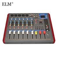 ELM профессиональный bluetooth 6 канала караоке аудио микшер усилитель микрофона микшерная консоль с USB 48 V Phantom Мощность