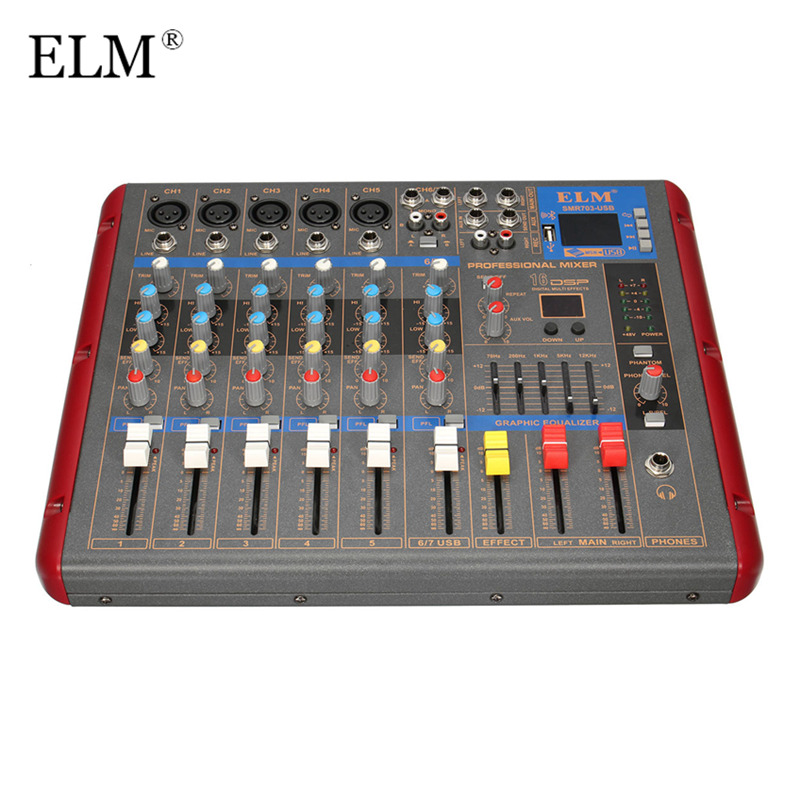 ELM Professional bluetooth 6 Channel Karaoke Audio Mixer Amplifier Microphone Sound Mixing Console With USB 48V Phantom PowerELM Professional bluetooth 6 Channel Karaoke Audio Mixer Amplifier Microphone Sound Mixing Console With USB 48V Phantom Power