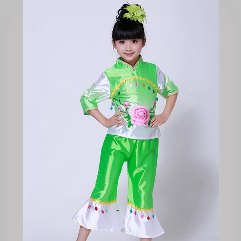 Chinese Folk Dance Custome Childrens Waist Drum Wear Yangko Classical Fan Show Girls National Clothes
