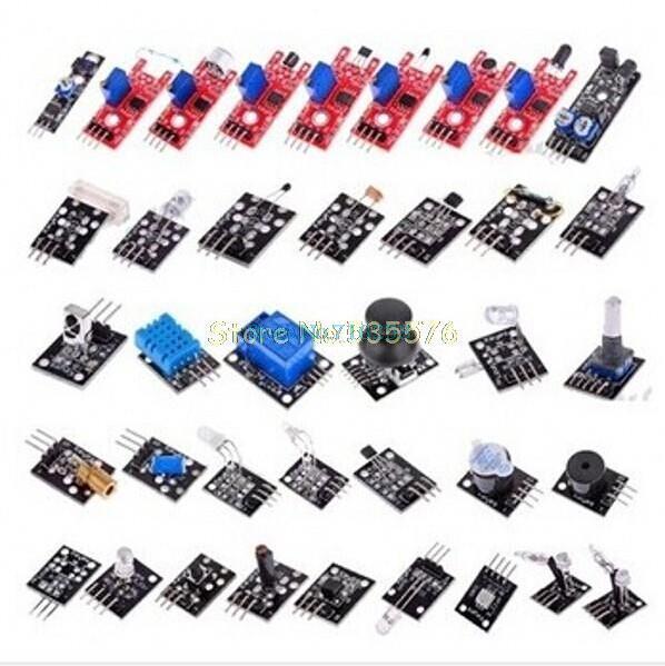 Para arduino 37 en 1 Sensor Kit Starters marca/RRGB/joystick/fotosensible/detección de sonido/evitación de obstáculos/Zumbador