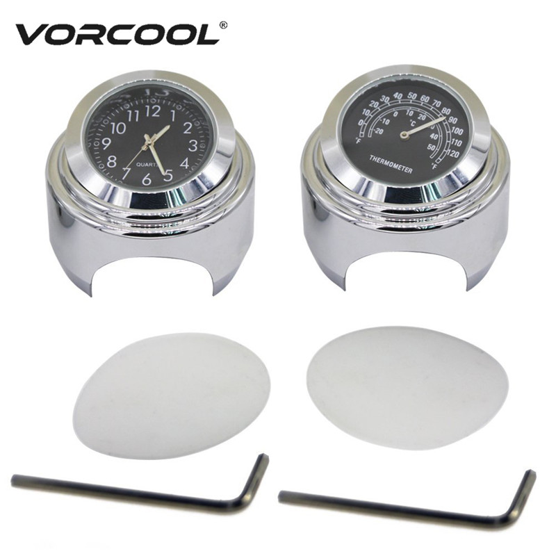 VORCOOL 2Pcs/set 22-25mm Motorcycle Handlebar Dial Clock and Thermometer for Yamaha Kawasaki Honda Suzuki Harley Davidson fa men гель для душа спорт 250мл
