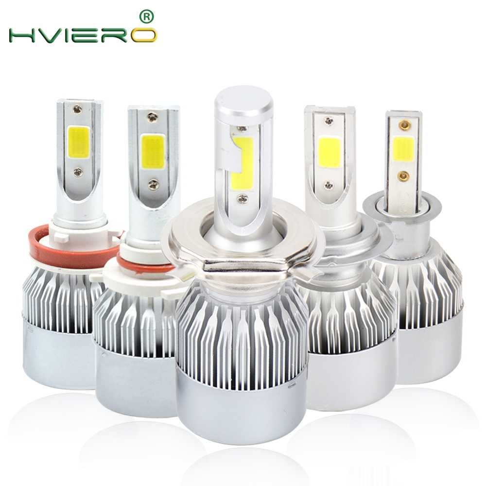 2X H1 H3 9005 9006 COB Auto LED Headlight Bulbs Hi-Lo Beam 72W 7800LM 6500K IP65 Auto Headlamp Led Lights DC 12v 24