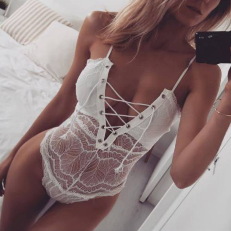 <font><b>Swimwear</b></font> Mulheres <font><b>Lace</b></font> Up One Piece 2019 Verão <font><b>Lace</b></font> Oco Out Tie-up Mangas Sexy Ver Através Bandage Corte fora Maiô image