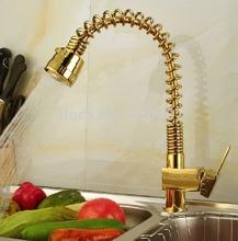 Выдвижной Золотой Пластине Кухонный Кран с Одним Рычагом на Одно Отверстие Смесителя