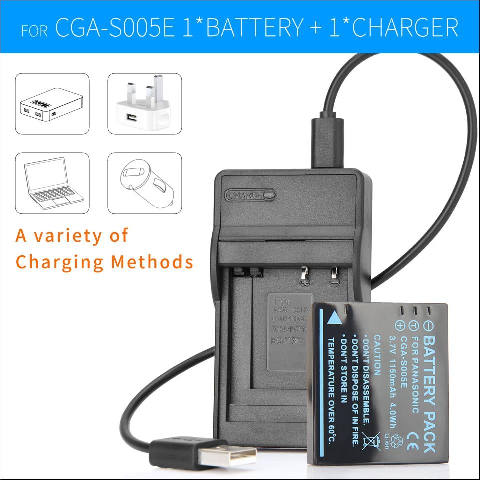CGA-S005 S005E Batterie + chargeur pour Panasonic Lumix Caméra CGA-S005E DMW-BCC12 DMC-LX1 DMC-LX2 DMC-LX3 DMC-FX180 FS1 FS2 FX01