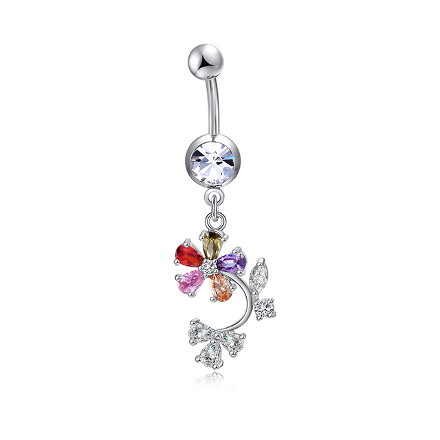 Us 1 57 15 Off Colorful Button Ring Bar Sexy Body Zircon Navel Ring Petal Belly Ring Dangle Crystal Navel Piercing Body Jewelry Wedding Gift On
