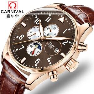 Image 1 - קרנבל למעלה מותג יוקרה Mens שעונים ספיר אופנה מכאני שעון יד משולב 6 ידיים ירח שלב עמיד למים reloj