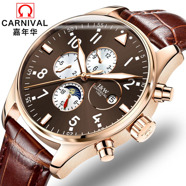 קרנבל למעלה מותג יוקרה Mens שעונים ספיר אופנה מכאני שעון יד משולב 6 ידיים ירח שלב עמיד למים reloj
