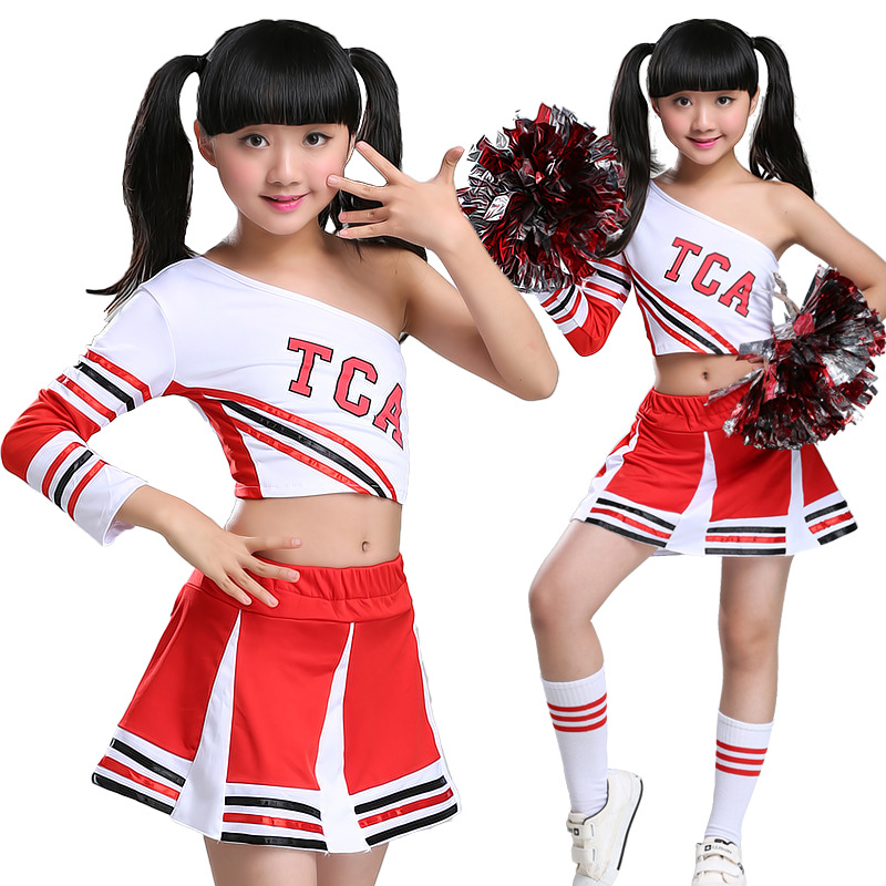 Children's Cheerleading Performance Costumes Boys GirlsGymnastic Uniforms, School Students' Gymnastic Sports Suits Spring Summer